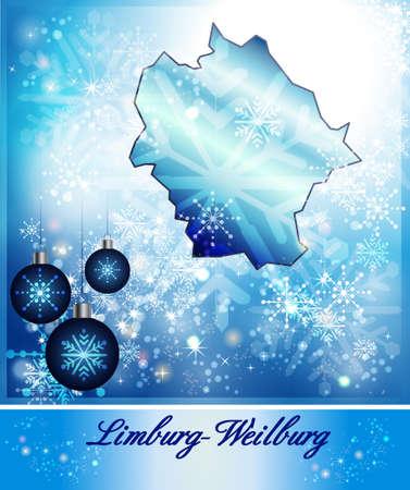 limburg: Map of Limburg-Weilburg in Christmas Design in blue