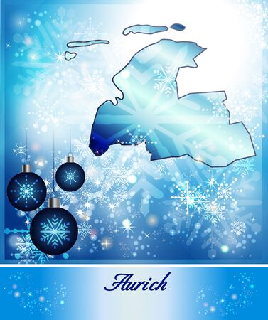 bulkhead: Map of Aurich in Christmas Design in blue