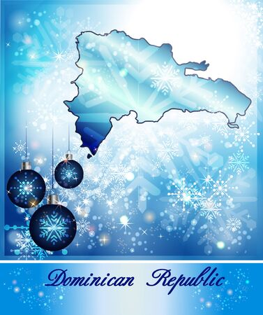dominican: Map of Dominican Republic in Christmas Design in blue