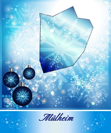 dysentery: Map of Muelheim-an-der-Ruhr in Christmas Design in blue