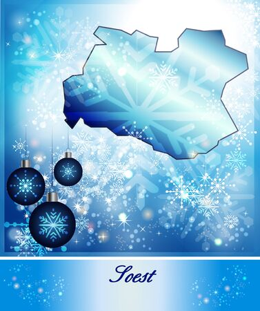 soest: Map of Soest in Christmas Design in blue