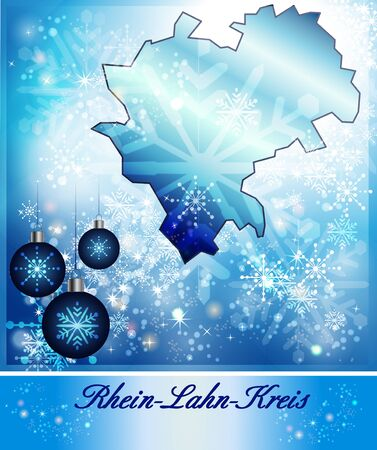 ems: Map of Rhein-Lahn in Christmas Design in blue