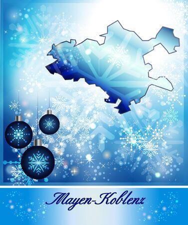 spay: Map of Mayen-Koblenz in Christmas Design in blue