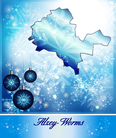 Map of Alzey in Christmas Design in blue