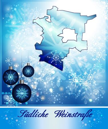 wine road: Map of Southern Wine Road in Christmas Design in blue