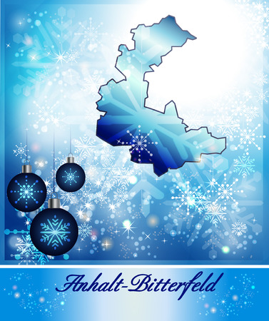 cosa: Map of Anhalt-Bitterfeld in Christmas Design in blue