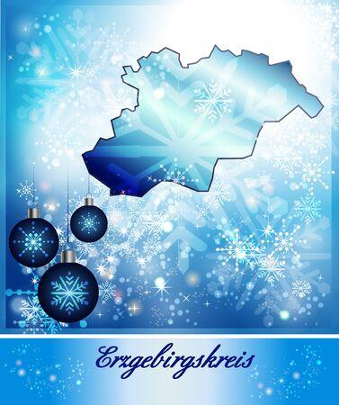 h�tte schnee: Karte von Erzgebirgskreis in Weihnachts-Design in Blau Lizenzfreie Bilder