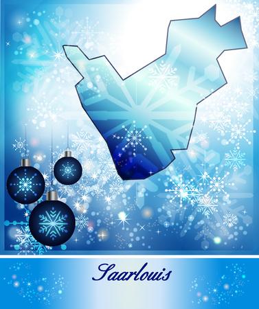 saarlouis: Map of Saarlouis in Christmas Design in blue Stock Photo