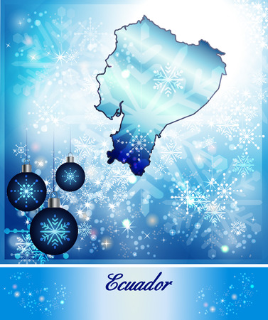 Map of ecuador in Christmas Design in blue
