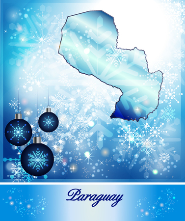 Map of Paraguay in Christmas Design in blue