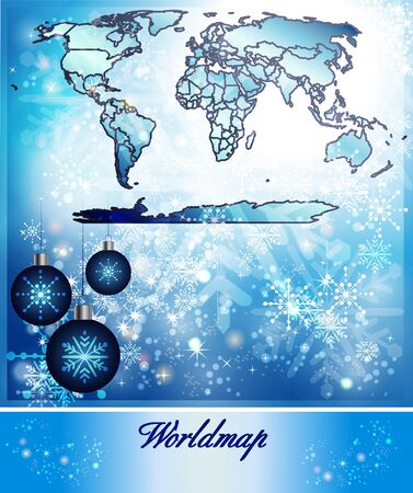 canberra: Map of world in Christmas Design in blue