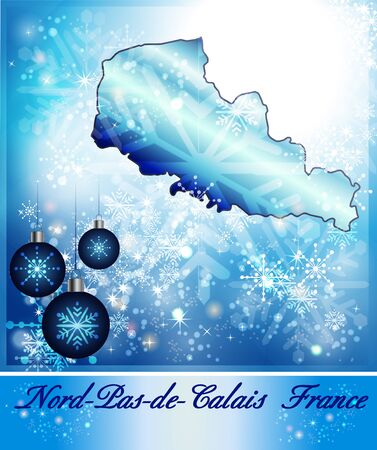 sur: Map of North-pas-de-calais in Christmas Design in blue