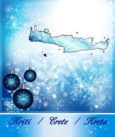 Map of Crete in Christmas Design in blue Stock Photo