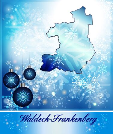 upland: Map of Waldeck-Frankenberg in Christmas Design in blue Stock Photo