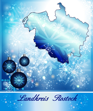 rostock: Map of Rostock in Christmas Design in blue Stock Photo