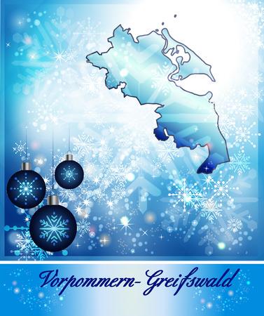 greifswald: Map of Vorpommern-Greifswald in Christmas Design in blue Stock Photo