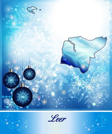 leer: Map of Leer in Christmas Design in blue