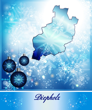 Kaart van Diepholz in Christmas Design in blauw