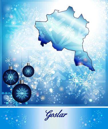 berg: Map of Goslar in Christmas Design in blue