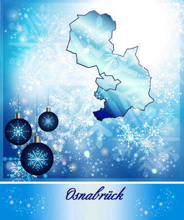 melle: Map of Osnabrueck in Christmas Design in blue
