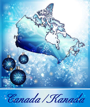 christmassy: Map of Canada in Christmas Design in blue
