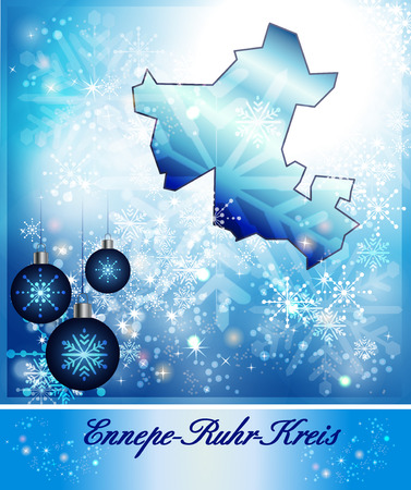 dysentery: Map of Ennepe-Ruhr-Kreis in Christmas Design in blue