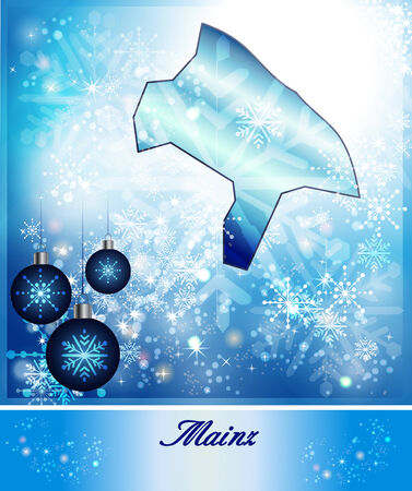 mainz: Map of Mainz in Christmas Design in blue Stock Photo