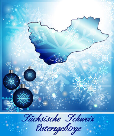 Map of Saxon-Switzerland-Eastern Ore Mountains in Christmas Design in blue