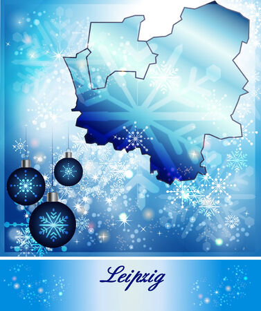 leipzig: Map of Leipzig in Christmas Design in blue