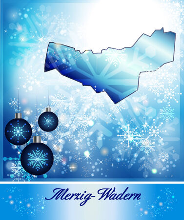 perl: Map of Merzig-Wadern in Christmas Design in blue Stock Photo