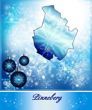Map of Pinneberg in Christmas Design in blue