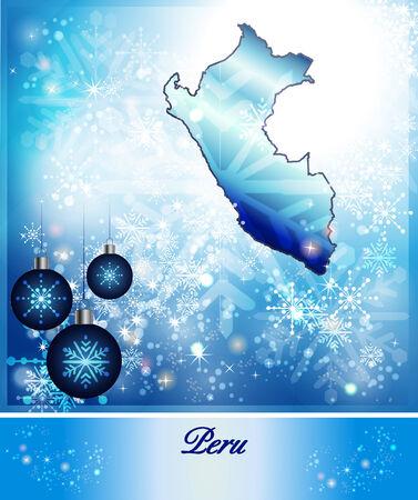 mapa del peru: Mapa de Per� en dise�o de la Navidad en azul