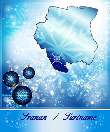 suriname: Map of suriname in Christmas Design in blue