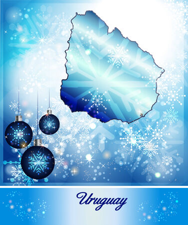uruguay: Map of Uruguay in Christmas Design in blue Stock Photo