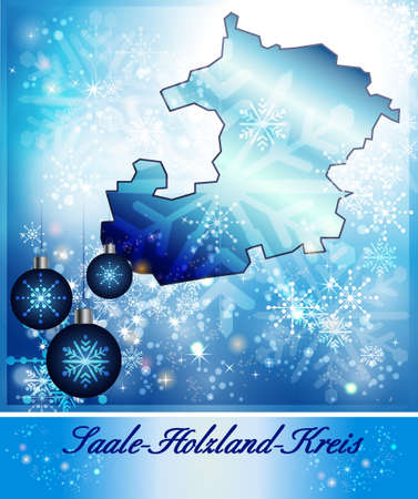 magpie: Map of Saale-Holzland-Kreis in Christmas Design in blue Stock Photo