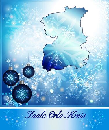 orla: Map of Saale-Orla-Kreis in Christmas Design in blue