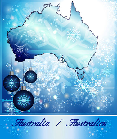 gold coast: Map of Australia in Christmas Design in blue