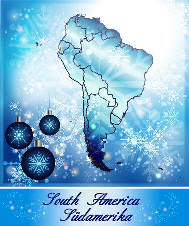 georgetown: Map of South America in Christmas Design in blue