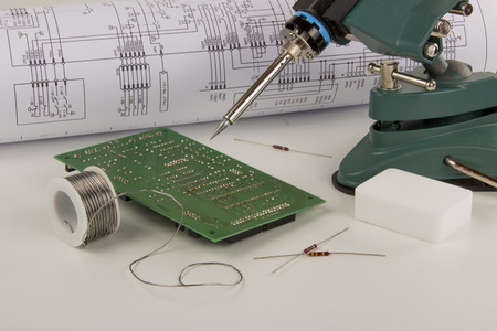 soldering: Soldering station and accessories Stock Photo