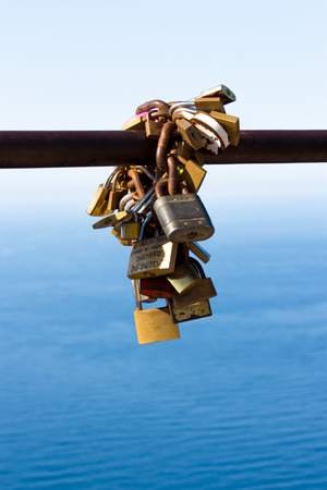 connectedness: Love Locks on the sea Stock Photo
