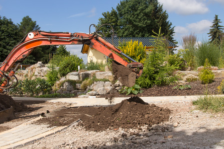 straighten: Earthwork with an excavator Stock Photo