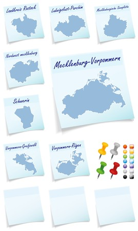 mecklenburg western pomerania: Collage of Mecklenburg-Vorpommern counties as sticky note