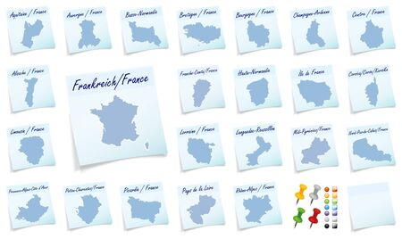 Collage of france with provinces as sticky note