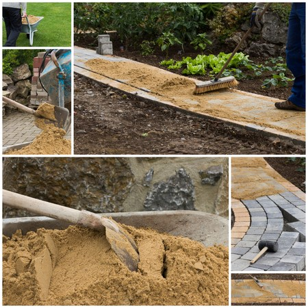 infrastructures: collage path construction Stock Photo