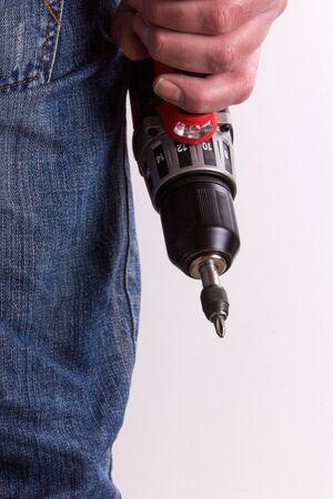 hobbyist: Man with cordless screwdriver