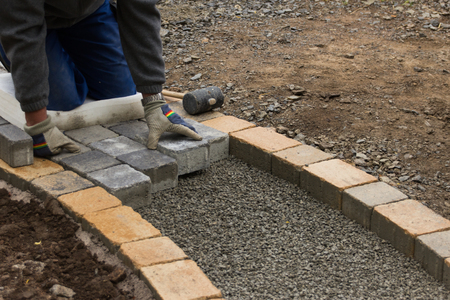 infrastructures: paving work Stock Photo