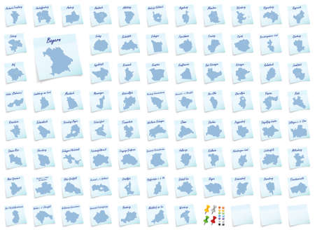 counties: Collage of Bavaria with counties as sticky note Stock Photo