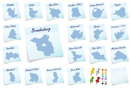 frankfurt: Collage of Brandenburg with counties as sticky note