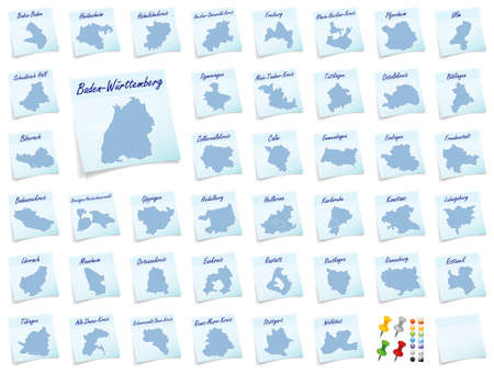 counties: Collage of Baden-Wuerttemberg with counties as sticky note