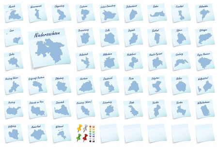 saxony: Collage of Lower Saxony counties as sticky note